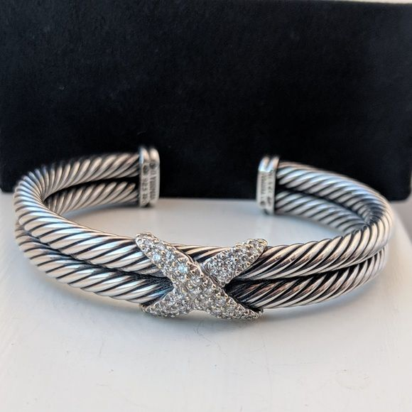 b8ef4e1207 Sterling Silver · David Yurman Double Cable Diamond Bracelet David Yurman  Crossover X Collection Bracelet The two bands together