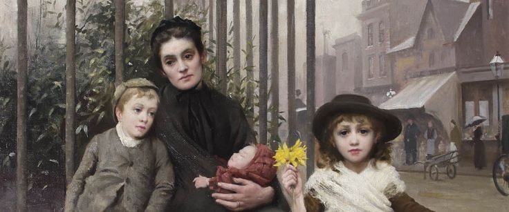 Detail of The Pinch of Poverty by Thomas Benjamin Kennington (c) The Foundling Museum