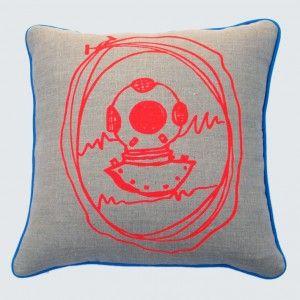 Deep sea diver hand screen printed linen cushion from Maker & Merchant