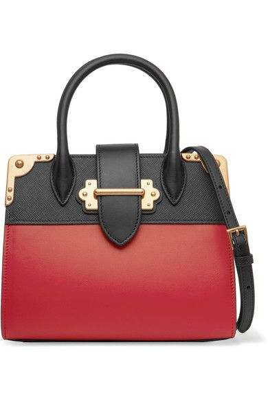 Red leather, black textured-leather (Calf) Tab fastening at open top Weighs approximately 2.2lbs/ 1kg Made in Italy