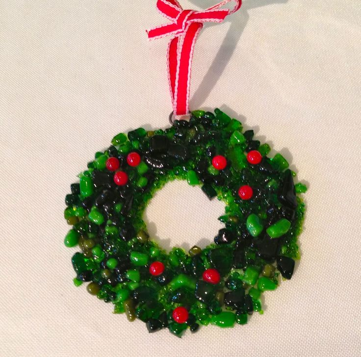 Here's my new ornament for this year: This wreath is made from crushed glass frit