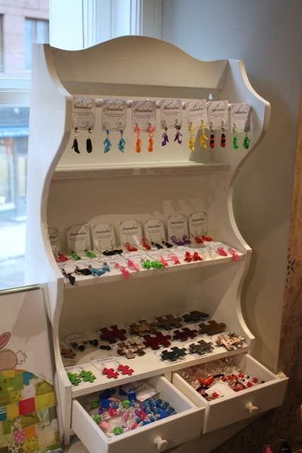 Joyful Minka -jewelry on a vintage shelf