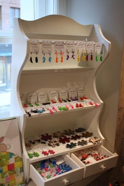 Joyful Minka -jewelry on a vintage shelf
