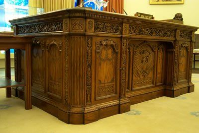 Resolute Desk in Oval Office, given by Queen Victoria. Sir John Franklin, an experienced explorer, and a Royal Navy officer left Britain in 1845 with a mission to explore the Arctic coastline and never returned