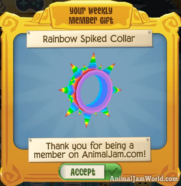 rainbow spiked collar rare play wild item animal jam