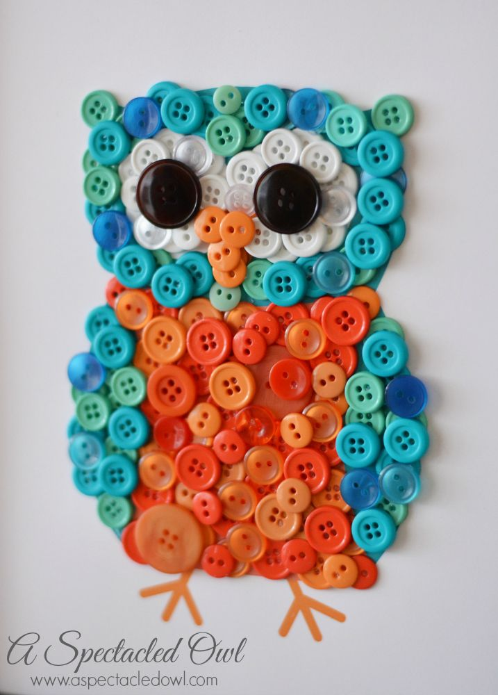 Diy owl button craft owl pinterest button crafts for Decorative buttons for crafts