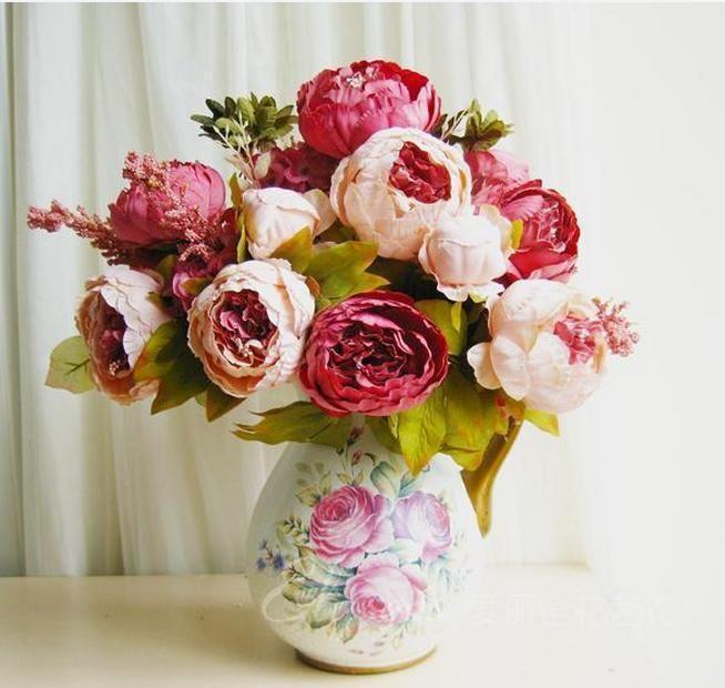Купить товарИскусственные цветы пион свадебные украшения искусственные украшения дома шелк пионы в категории Декоративные цветы и венкина AliExpress.  Пион, Свадебные украшения, искусственные рождественские украшения дома шелк пионы  Пожалуйста, обратите внимание:  &nbs