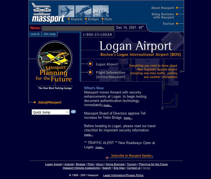 Massport website in 2001