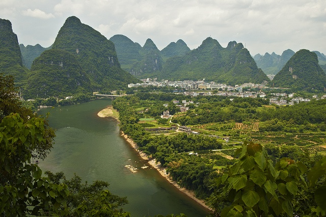 View from a karst peak, Yangshuo -  After a morning treek up to the top of a karst peak we could enjoy a beautiful view over the river and the surrounding landscape.