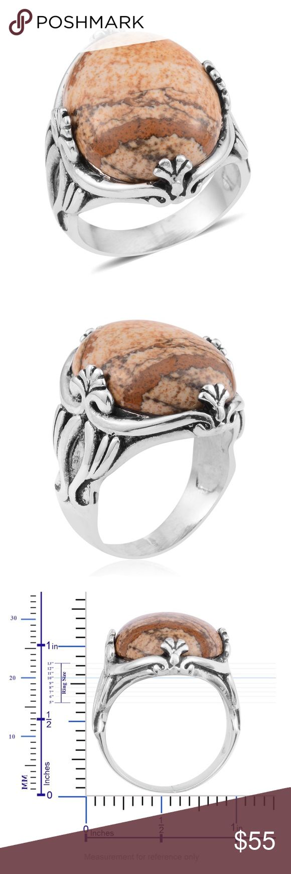 Picture Jasper 925 Stainless Steel Ring Size 8 Picture Jasper Black Oxidized Stainless Steel Ring (Size 8.0) TGW 30.00 cts. 2189 Finish Black Oxidised Product Weight (grams) 4.080 Total Stone Weight (Carat) 30 Gemstone 1 Picture Jasper Fancy Free Fancy Gemstone Weight 1 30 Metal 613 Stainless Steel Western Wear Statement Ring Boho Gypsy Semi precious stone Healing Stones Native American Festival Southwest artisan Jewelry Rings