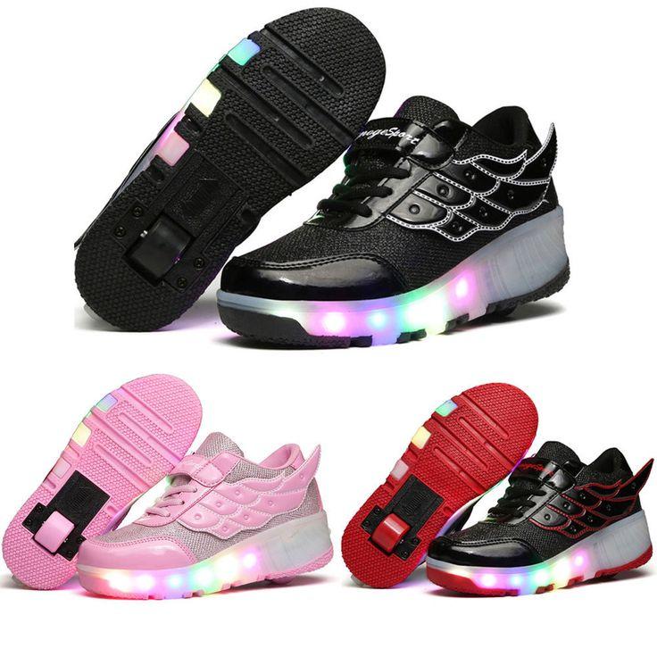 Farbwechsel LED Schuhe Blinkschuhe Laufschuhe mit Rollen Kinder Jungen Mädchen