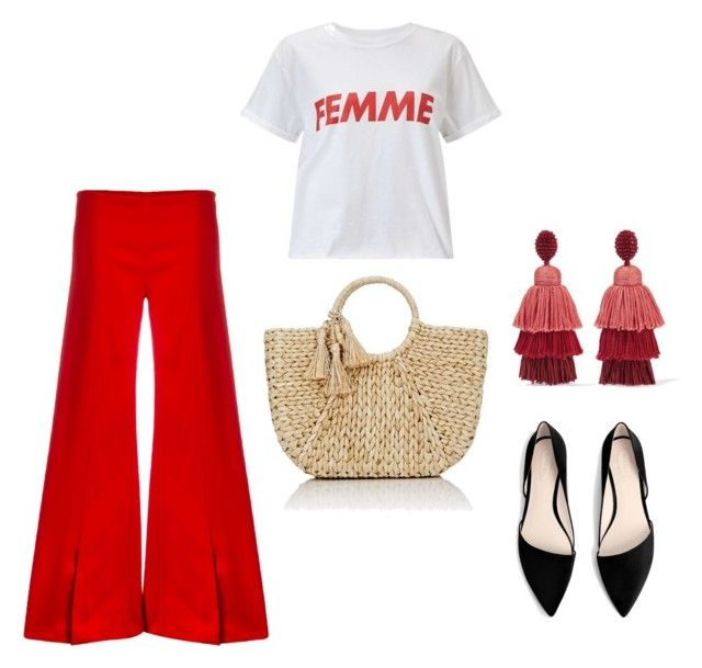 red by vanessawblogg on Polyvore featuring Miss Selfridge, Thierry Mugler, MANGO, Buji Baja and Oscar de la Renta