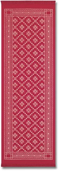 """Åttebladrose Runner $39.00 at Ingebretsen's SKU: 30487 Ekelund's Åttebladrose pattern is a traditional Norwegian pattern which is beautifully woven in Sweden from linen and cotton. Perfect on a holiday table or to celebrate your heritage throughout the year. Beautifully red, 14"""" x 43"""""""