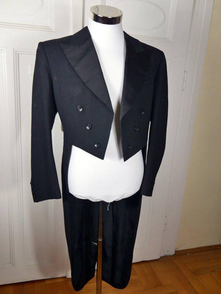 Black Evening Tailcoat, German Vintage Evening Tuxedo w Tails, Black Wool Full-Dress Tailcoat, Steampunk Jacket, Morning Coat: Size 38 US/UK by YouLookAmazing on Etsy