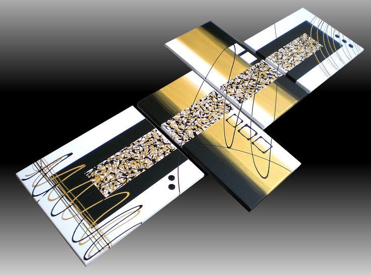 Produzione Quadri moderni astratti - 100% dipinti a mano. 4 Quadri Moderni Astratti Toni del oro bianco e nero