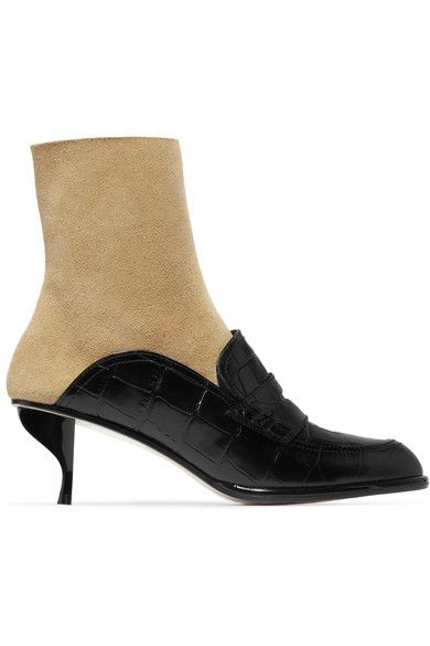 Loewe - Croc-effect Leather And Suede Ankle Boots - Black - IT41