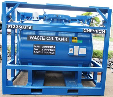 """WASTE OIL TANKS PT Engineering's offshore waste oil tanks have been designed and manufactured in accordance with DNV2.7-1 / BSEN 12079. STANDARD FEATURES Units are supplied """"rig ready"""" and come complete with certified slings and shackles (Green Pin - Van Beest or Red Pin - Crosby) as standard."""