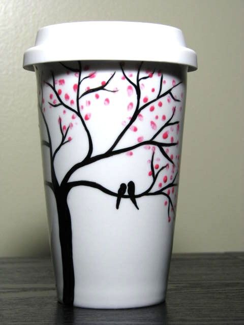 Love Birds in Cherry Blossom Tree painted travel mug by Pretty My Drink on Etsy