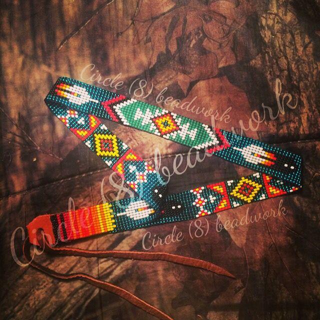 "Native style !! beaded hat band ""Circle (8) Beadwork"