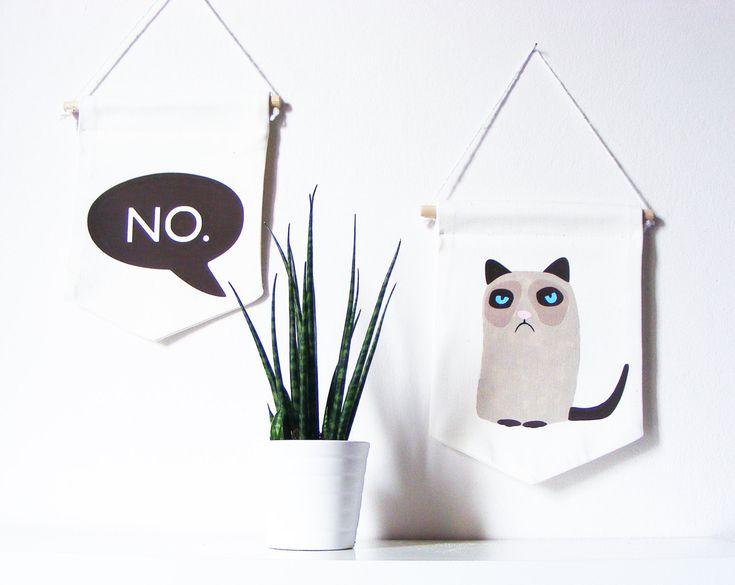 Wandbanner mit Grumpy Cat & 'No'. Perfekter Wandwimpel für mürrische Stunden. Auf Etsy.