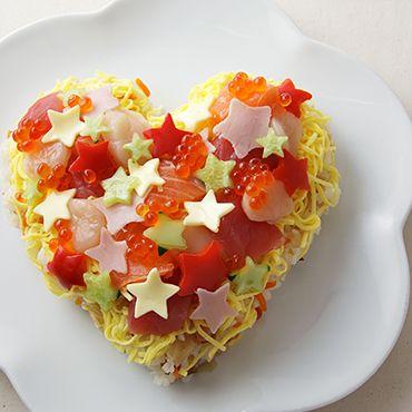 Heart sushi. 星がきらめくハートの七夕ちらし寿司