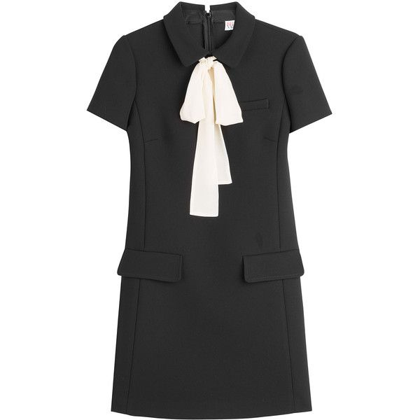 RED Valentino Tie Neck Crepe Dress (9605110 BYR) ❤ liked on Polyvore featuring dresses, black, neck-tie, red valentino, retro dresses, tailored dress and neck tie dress