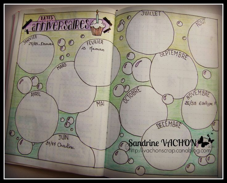 Page anniversaire Sandrine VACHON - BULLET JOURNAL                                                                                                                                                                                 Plus