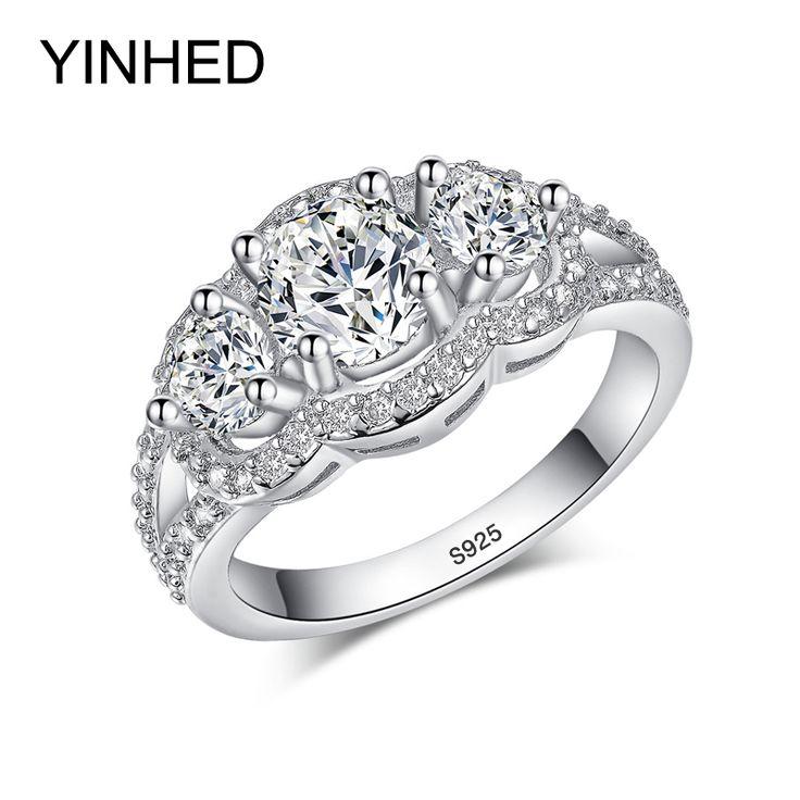 90% Korting! YINHED 100% 925 Sterling Zilveren Trouwringen voor Vrouwen Top Kwaliteit Zirconia Verlovingsring CZ Sieraden ZR091