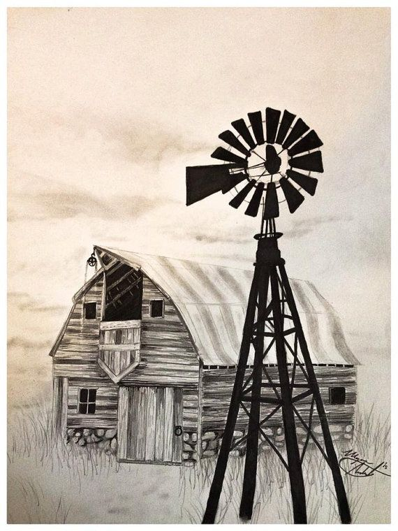 Barn & Windmill Drawing Charcoal Ink Art Farm by ChicCharcoals