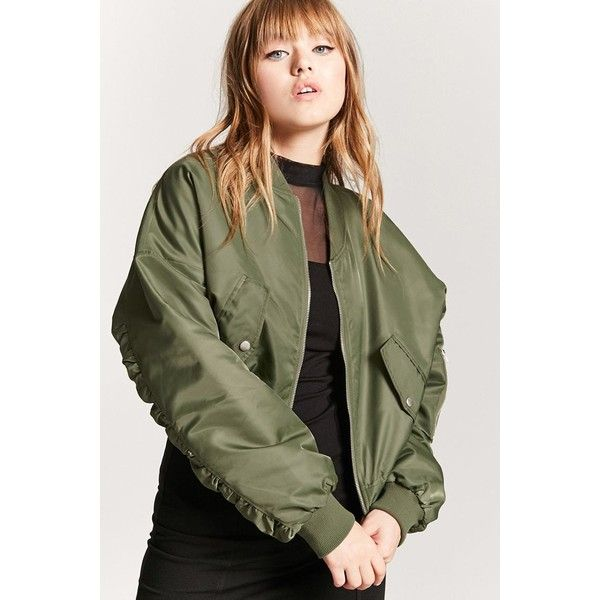 Forever21 Ruched-Sleeve Bomber Jacket (595 ARS) ❤ liked on Polyvore featuring outerwear, jackets, olive, olive green jackets, green flight jacket, long bomber jackets, long green jacket and green utility jacket