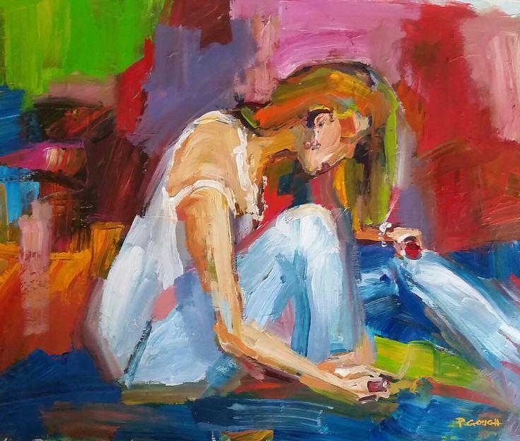 Date Night, acrylic on paper, 50cm x 40cm, NZ ART www.paulinegough.com