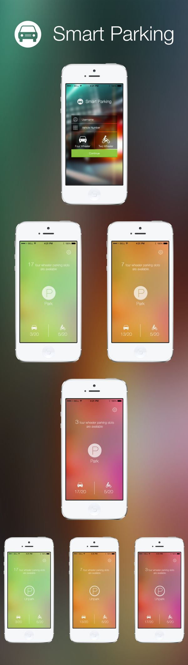 iOS 7 Parking App by Jagadeesh Punna, via Behance