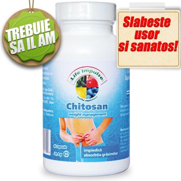 Chitosanul - 500mg este eficient în controlul greutatii corporale. Chitosanul formeaza legaturi cu grasimile alimentare, impiedicandu-le absorbtia. Produs din chitina exoscheletului de crustacee, actioneaza rapid, este usor de administrat, cu eficienta demonstrata. Recipientul contine 60 de capsule.