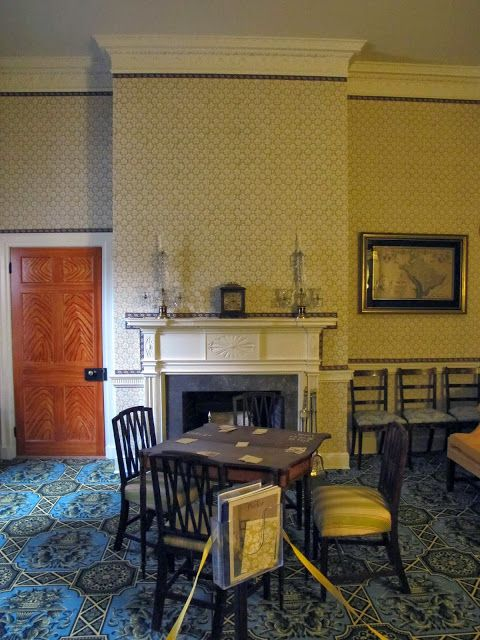 Faux painted door, mantel, wallpaper, colorful ingrain carpet, Dumbarton House, Maryland, 1799.