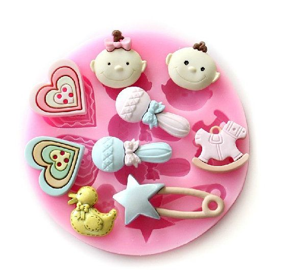 Baby Shower Cake Decoration Molds : Baby Fondant Mold Candy Molds Flexible Silicone Mold Resin ...
