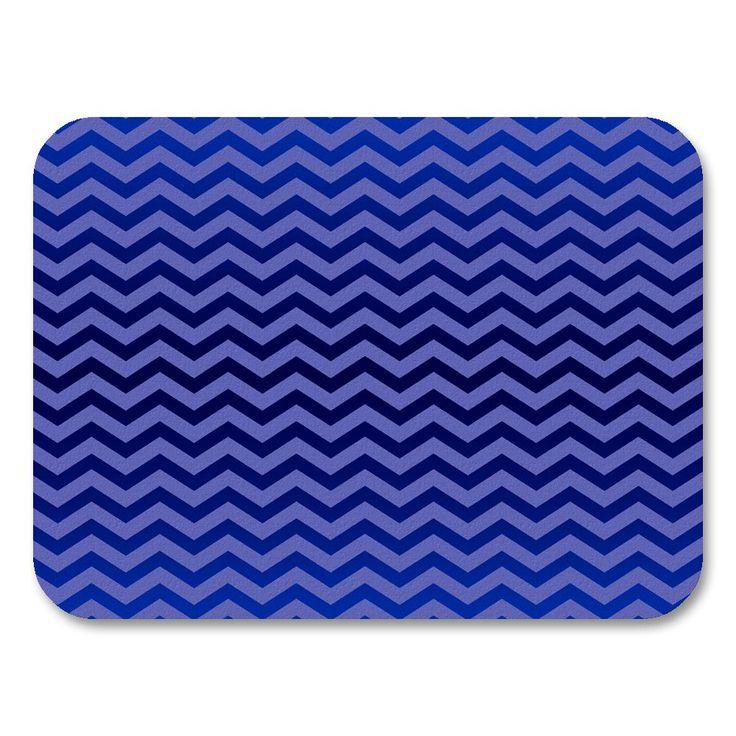Uneekee Chevron Blue Placemats (Set of 4) (Chevron Blue Placemat) (Polyester, Geometric)
