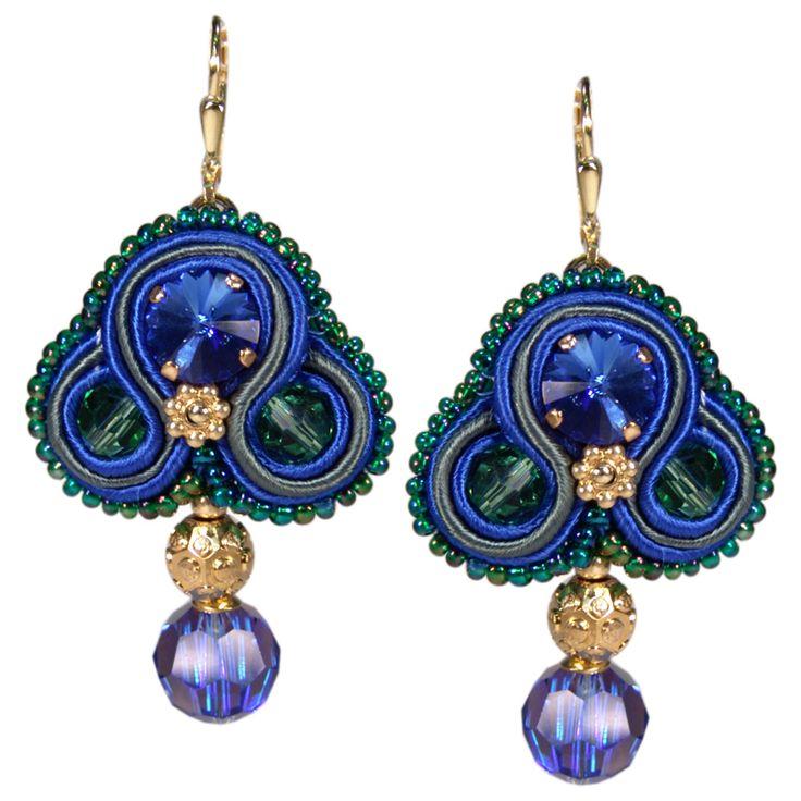 Prächtiger Soutache-Ohrhänger in Blau, Grün und Gold von Perlotte Schmuck