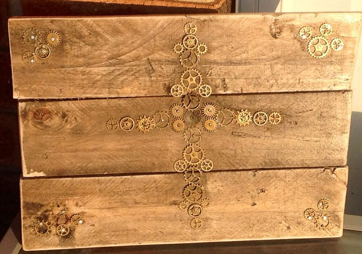 Handmade using Cogs to make a Cross Elly Baba's Treasures