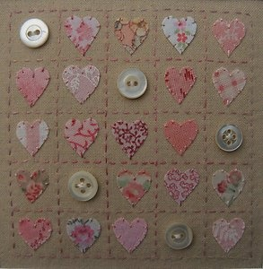 'Little Pink Hearts' Designed/stitched by Helen Drewett collectable original | eBay