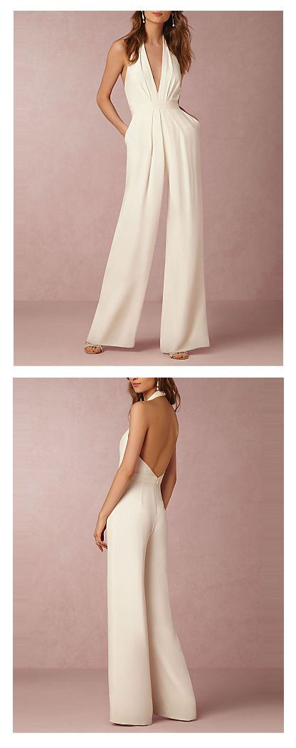 A must have evening V neck open back wide legs ivory jumpsuit. Wear it for any special occasion to always look stunning! €20.28