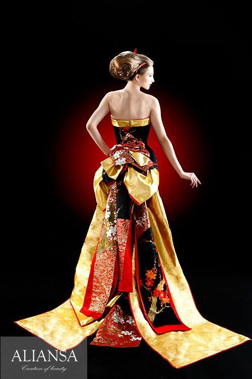 和ドレス 着物ドレス 赤・黒のマーメイドライン