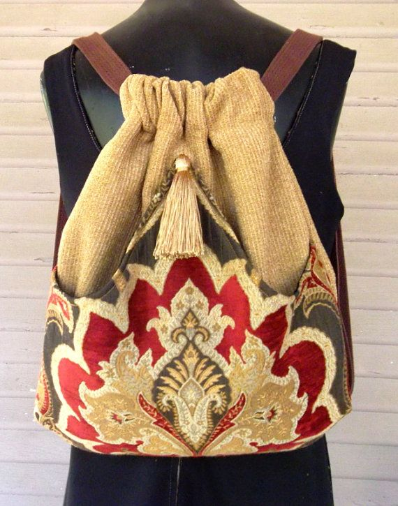Red and Gold Tapestry Backpack Boho Backpack  by piperscrossing, $45.00