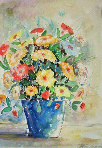 Vaso azul e flores amarelas Paulo Calazans (Brasil, 1947) aquarela, 54 x 38 cm