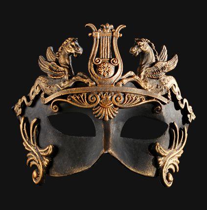Colombina Barocco Cavalli Bronze Venetian Mask