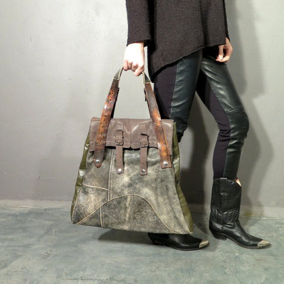 Handmade Recycled Grunge Industrial Real Leather Bag by RollingClothes