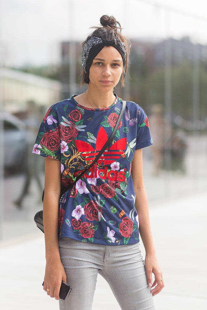 floral Adidas. #Binx throwing some cool around #offduty in NYC. #BinxWalton