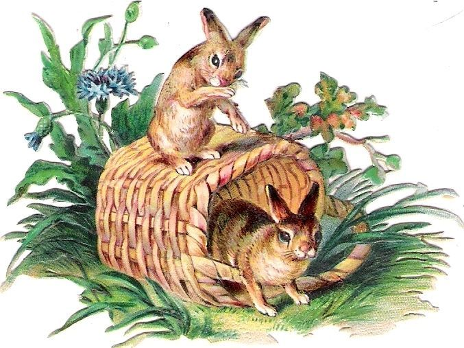 Oblaten Glanzbild scrap die cut chromo  Hase rabbit bunny Korb basket Gras
