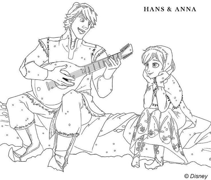 coloriage hans et anna la reine des neiges disneys frozen colouring pages pinterest anna