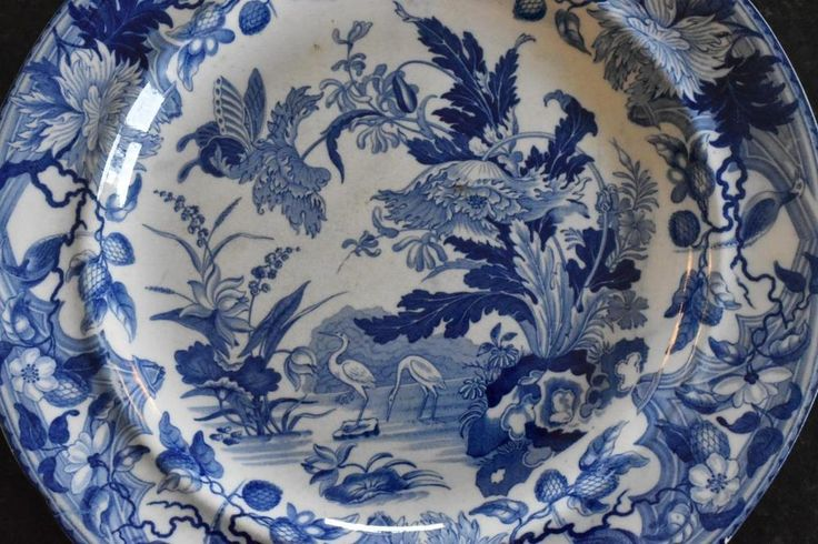 Wedgwood blue & white transferware pearlware plate, 'Crane Pattern c.1820 (A837) in Pottery, Porcelain & Glass, Date-Lined Ceramics, Pre-c.1840 | eBay!