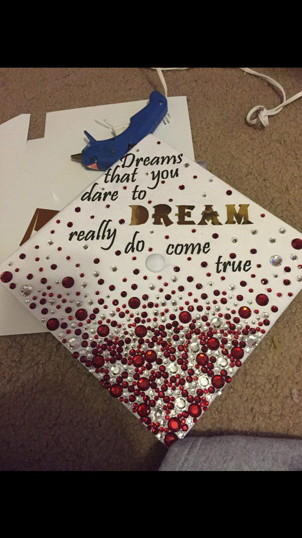 Rhinestone Graduation Cap With Wizard of OZ Quote.
